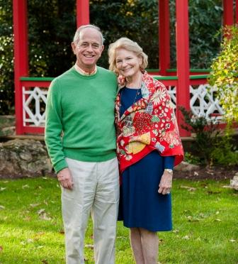 DR. MALCOLM BROWN WITH HIS WIFE, PATRICIA BROWN, IN THEIR GARDEN